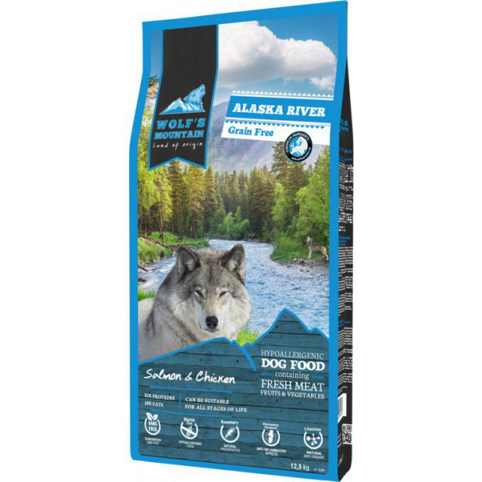 WOLF'S MOUNTAIN CHIEN ALASKA RIVER 12 KG OU 2,5 KG